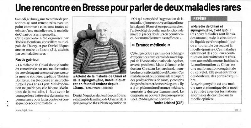 Le Journal de Saône et Loire, APAISER, Association Pour Aider, Informer, Soutenir Études et Recherches pour la Syringomyélie & le Chiari