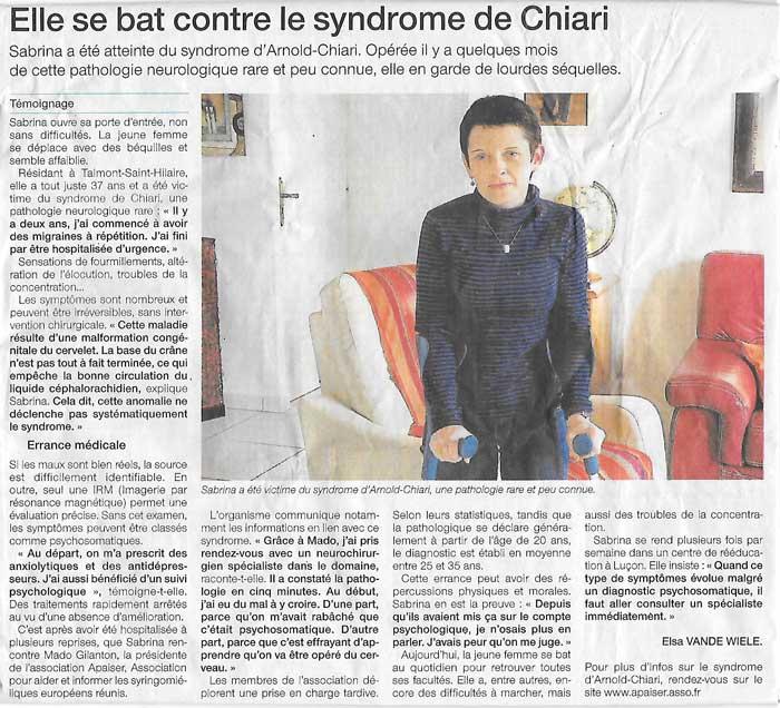 Ouest-france, APAISER, Association Pour Aider, Informer, Soutenir Études et Recherches pour la Syringomyélie & le Chiari