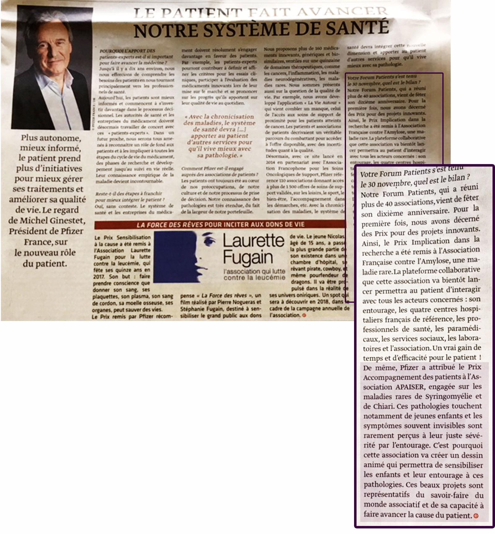 in Le Monde, 2 décembre 2017, Apaiser lauréat du Prix Pfizer