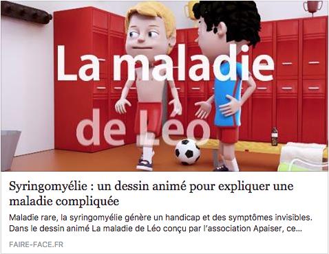 """Un article dans le journal de l'APF Faire Face qui reconnaît le dessin animé """"Rare, Invisible mais Vraie"""""""