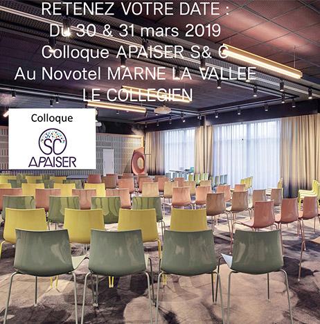 Colloque Apaiser au Novotel de Marne-La-Vallée, 30 et 31 mars-2019