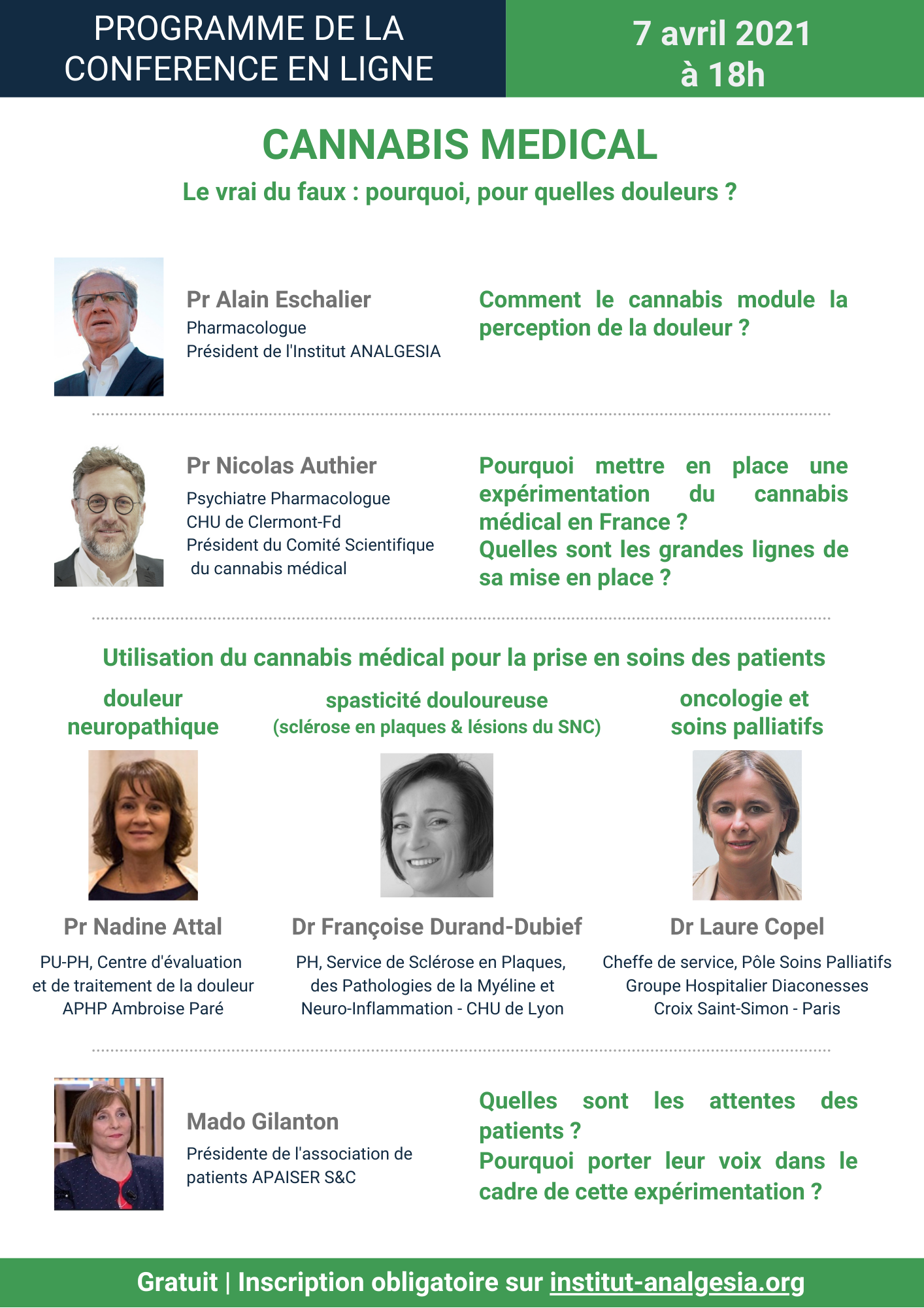 Programme CANNABIS MÉDICAL, LE VRAI DU FAUX, Analgesia, 7 avril 2021